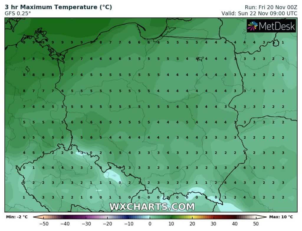 Temperatury w niedzielę