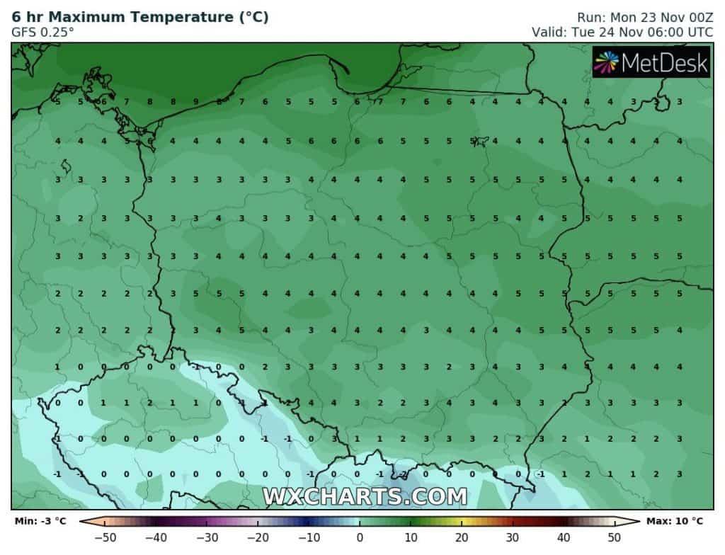 Temperatury we wtorek rano