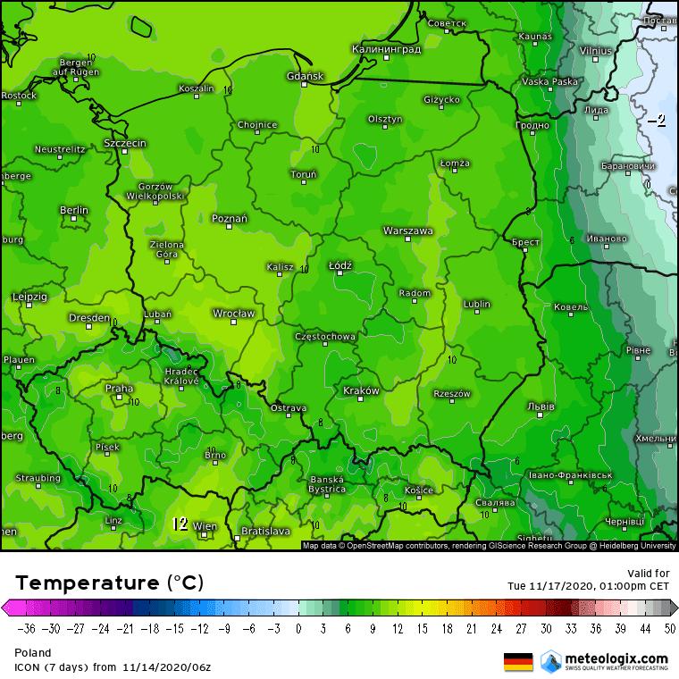 Temperatury w Polsce we wtorek