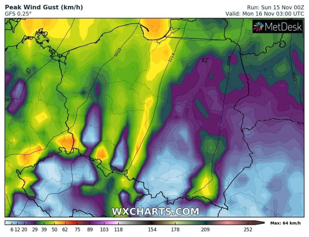 Wiatr w Polsce w poniedziałek