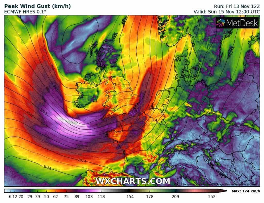 Silna wichura nadchodzi do Europy