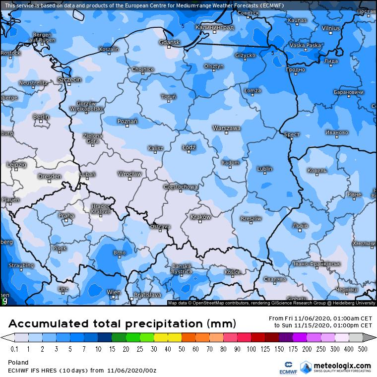 Deficyt opadów w listopadzie 2020 na obszarze Polski.