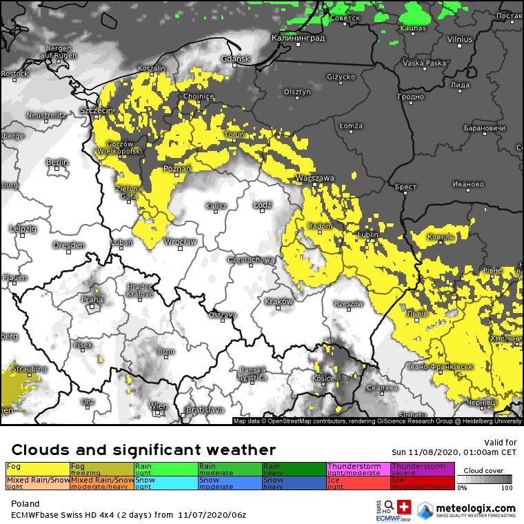 Prognoza zachmurzenia, mgieł i opadów na noc z soboty na niedzielę. Możliwe gęste mgły