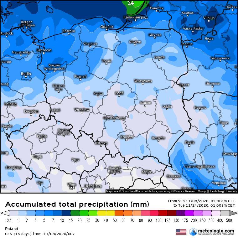 Pogoda na 16 dni dla Polski. Sprawdź prawdopodobny trend w pogodzie ma okres od 8.11.2020 do 24.11.2020.