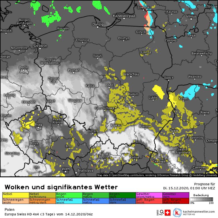 Opady w nocy Polska