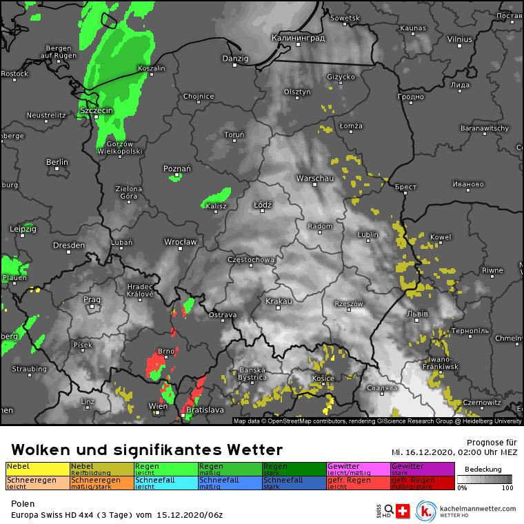 Opady w Polsce w nocy
