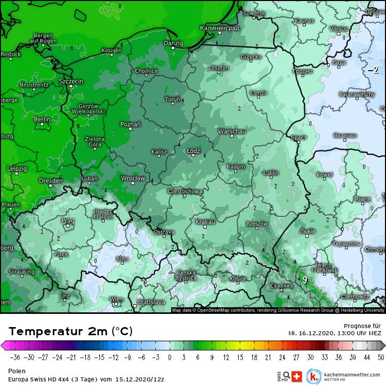 Temperatura w środę w Polsce