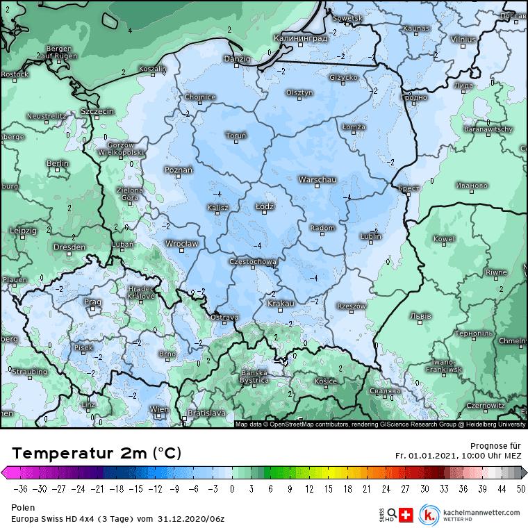 Temperatura w Polsce 1 stycznia