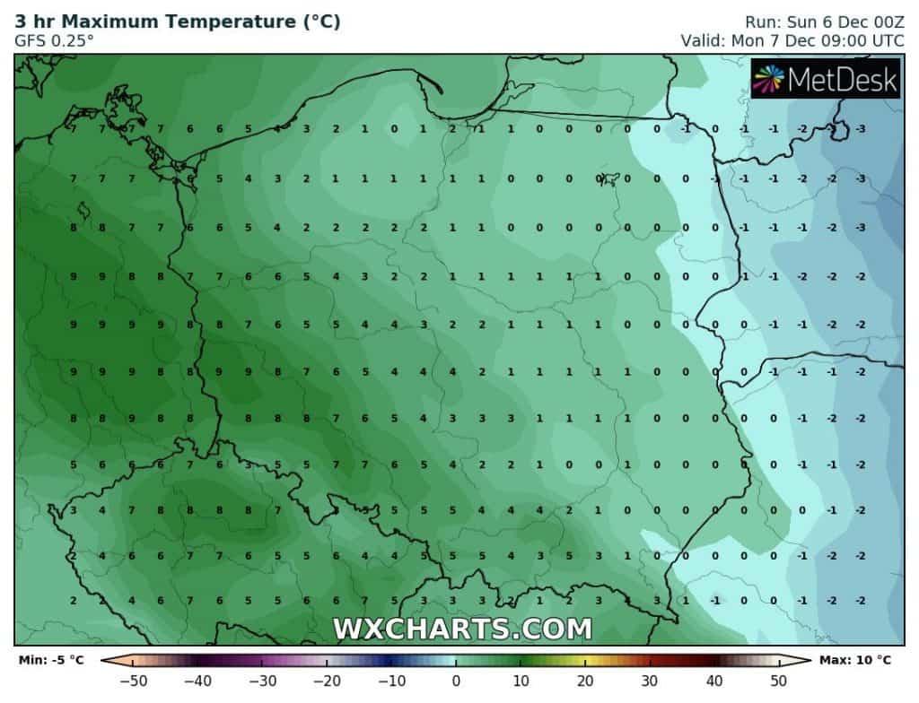 Temperatura w nocy w Polsce