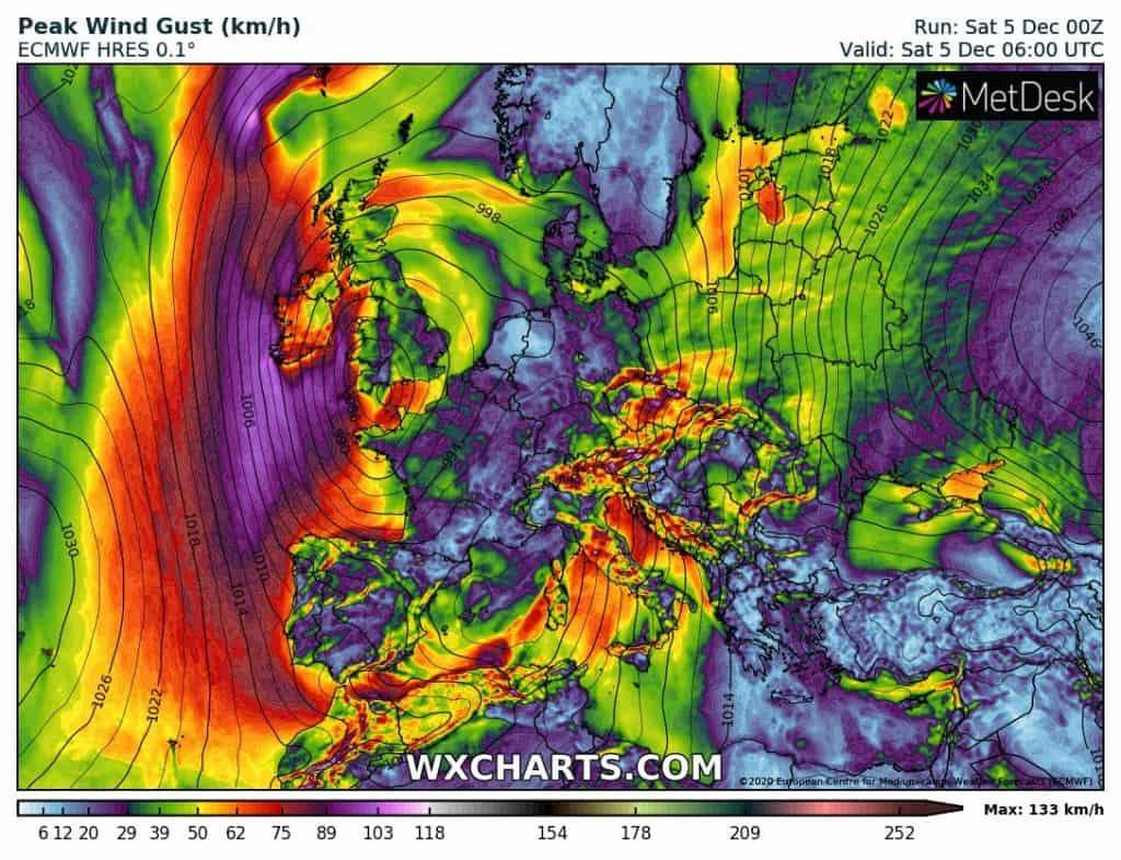 Wichura w Europie. Silny wiatr