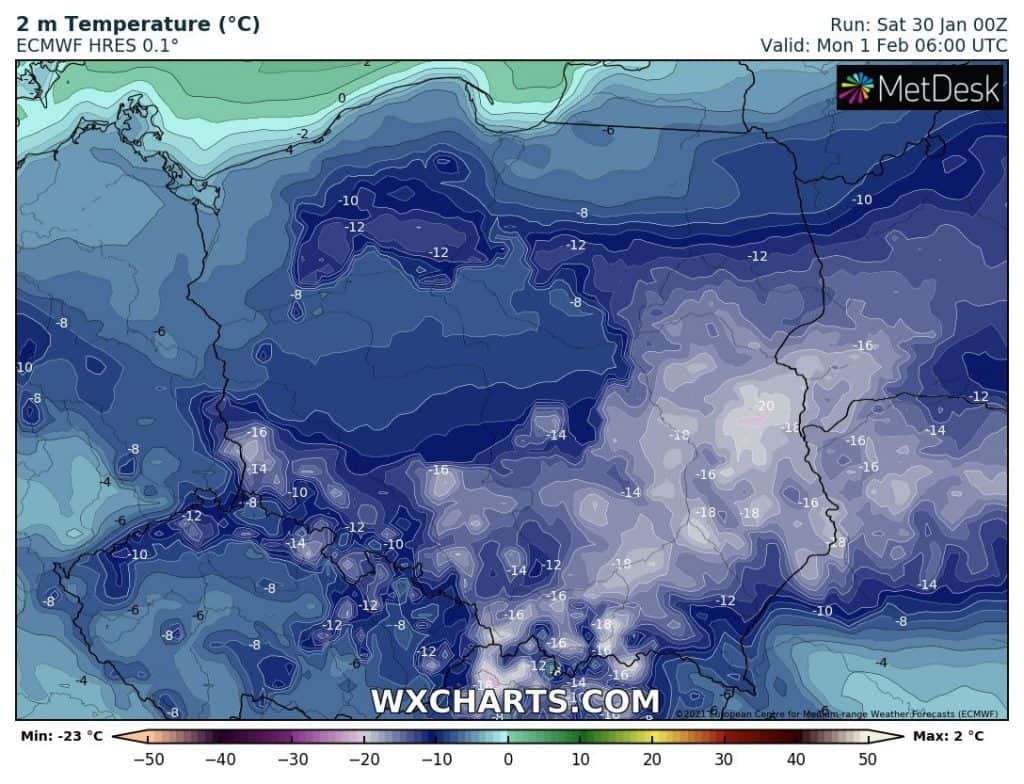 Temperatura 1 lutego 2021