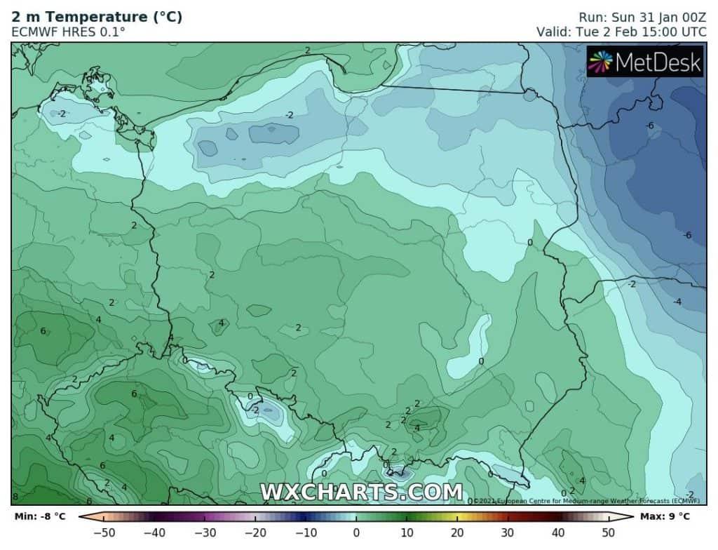 Prognoza temperatury na 2 lutego 2021
