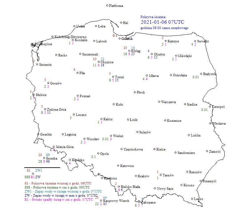 Pogoda. Zasięg pokrywy śnieżnej na obszarze Polski 6 stycznia 2021 według IMGW-PIB