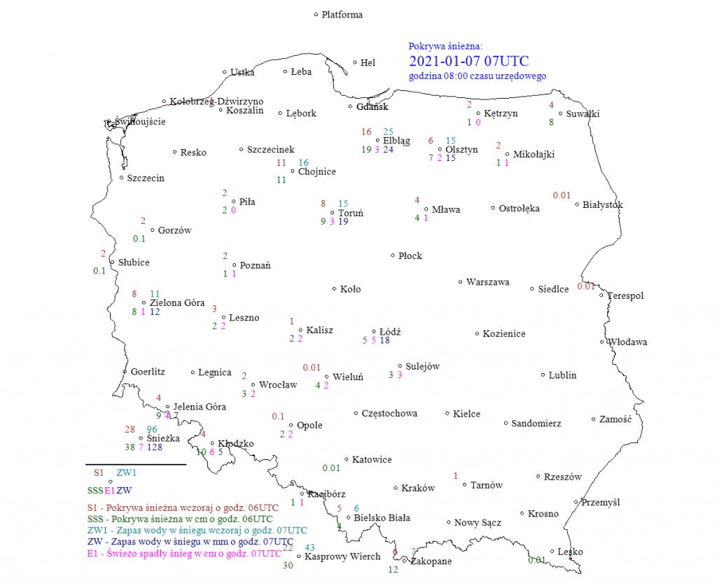 śniegu leży w Polsce 7 stycznia 2021