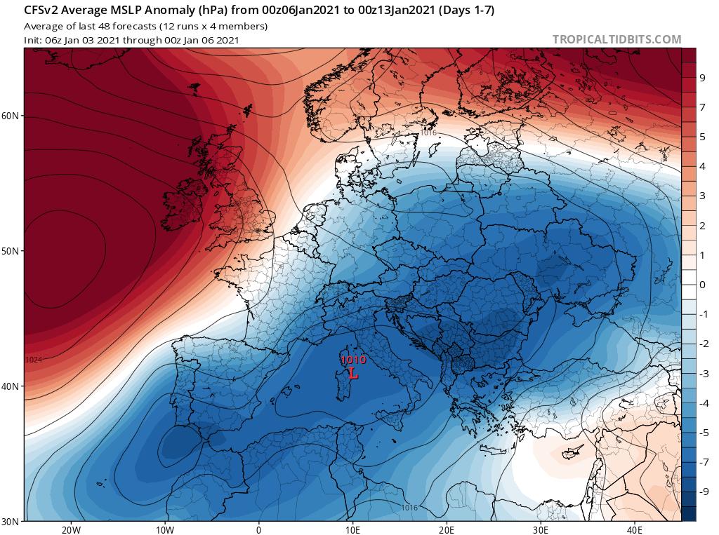 Prognoza anomalii ciśnienia w okresie od 6.01.2021 do 13.01.2021 dla Europy.