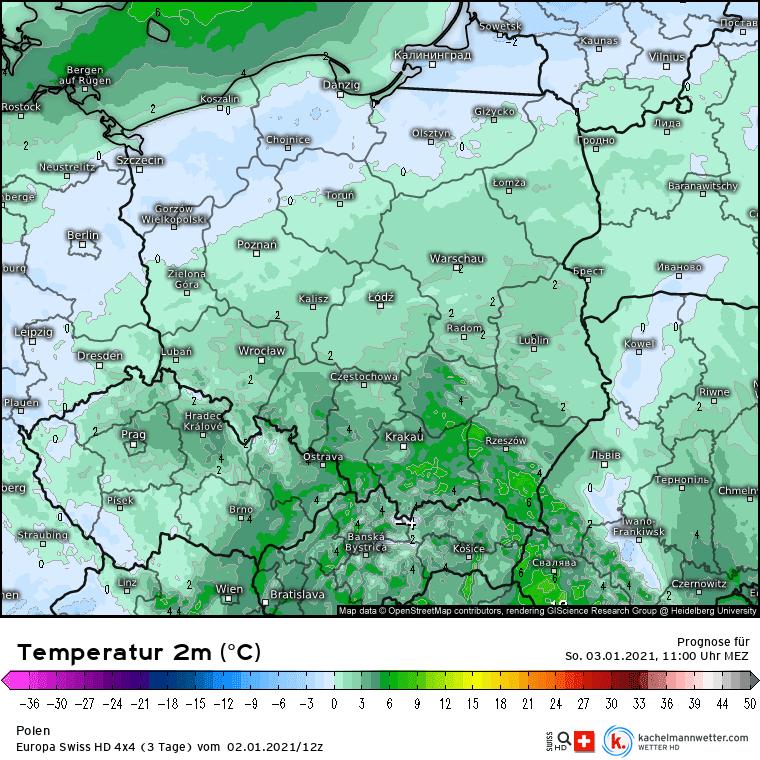 Temperatura w niedzielę dla Polski