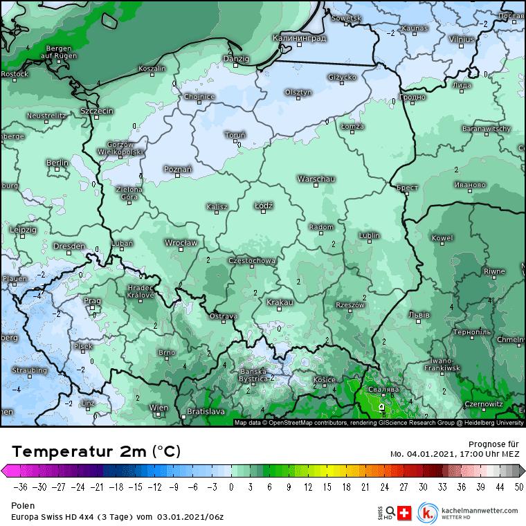 Temperatura w Polsce w poniedziałek