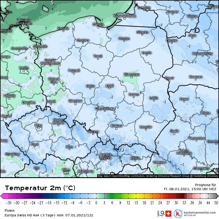 Temperatura w piątek w Polsce