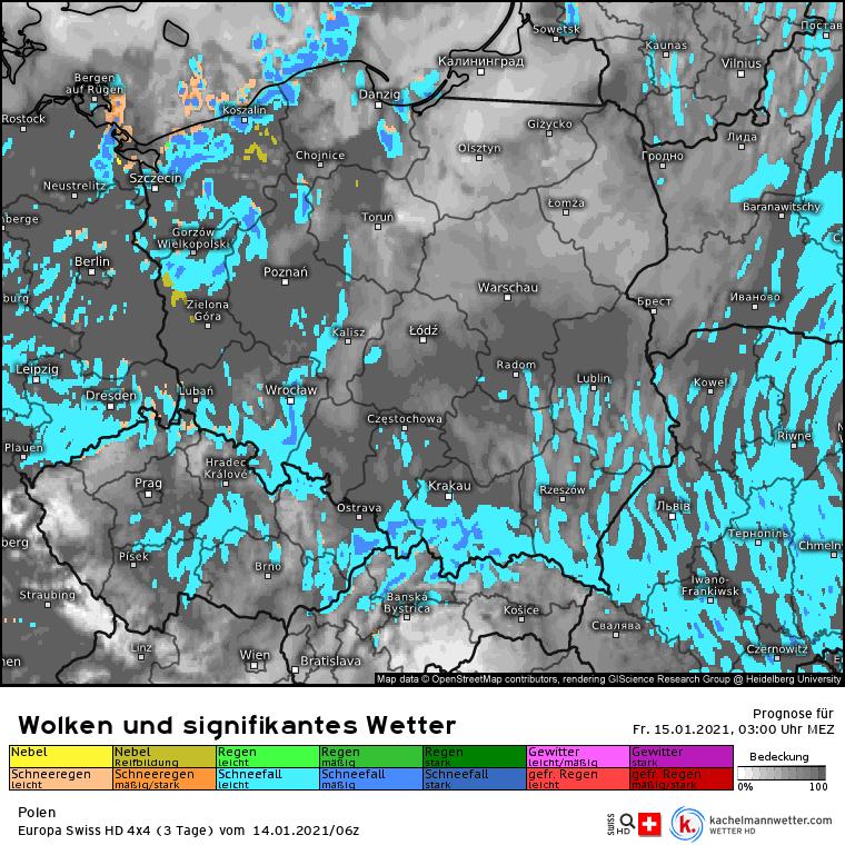 Śnieg i burze w nocy w Polsce