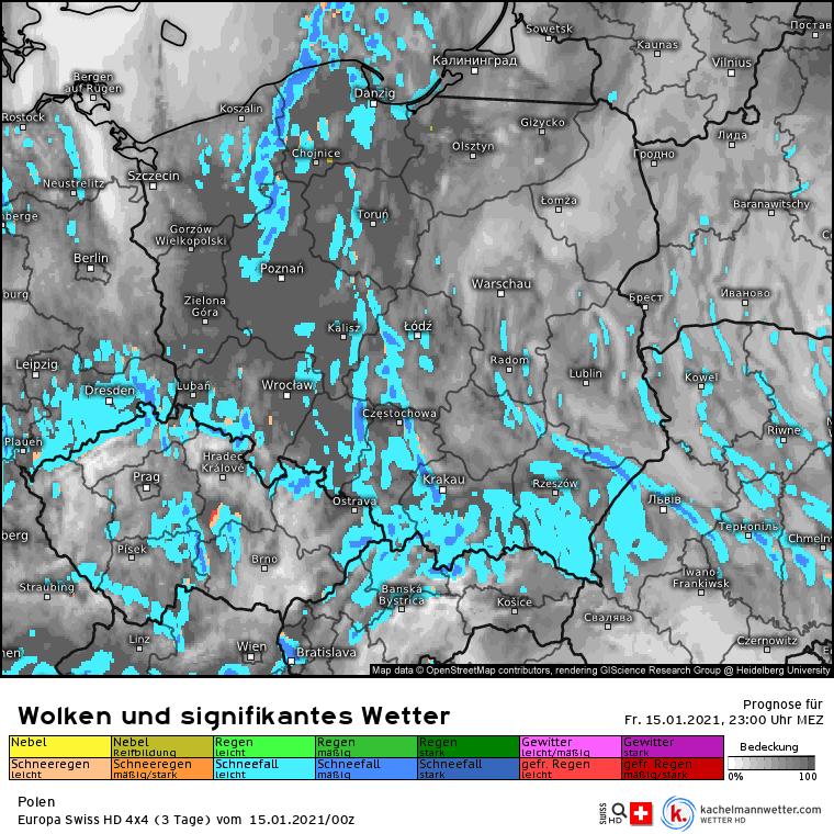 Opady śniegu w nocy nad Polską