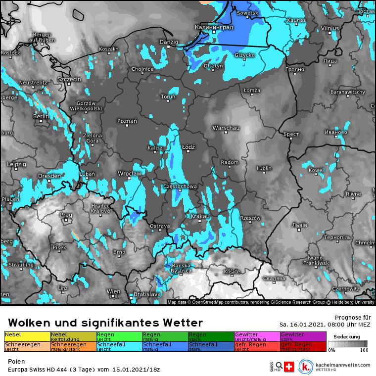 Opady śniegu wkroczą do Polski rano