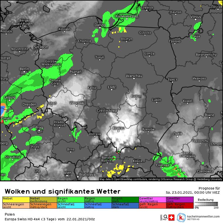 Pogoda w nocy nad Polską