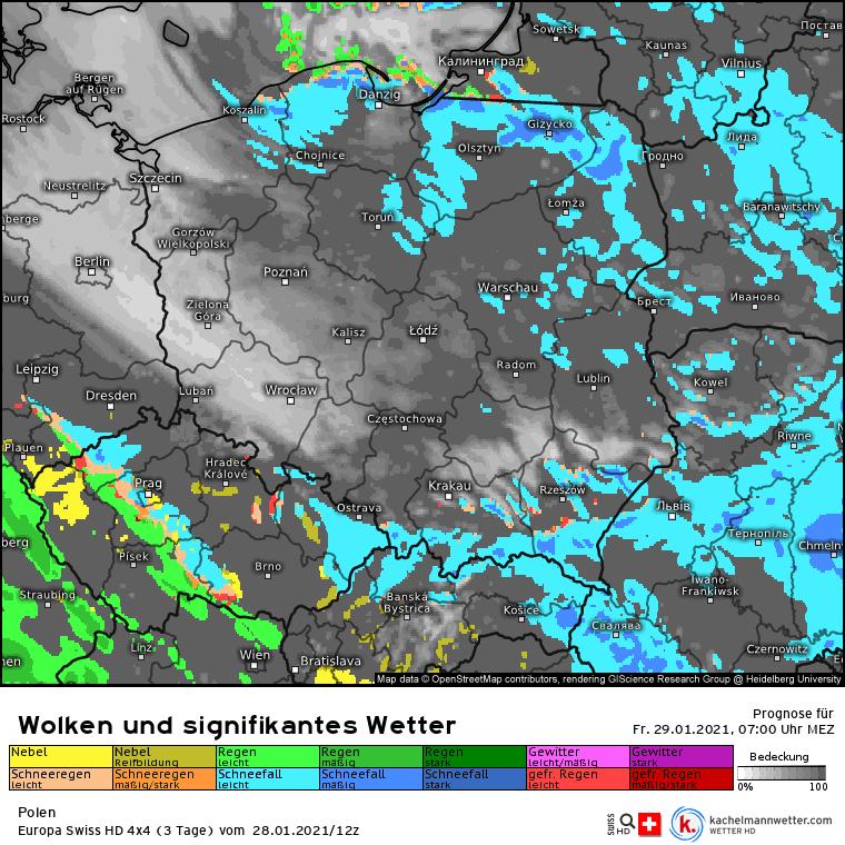 Opady śniegu w piątek nad Polską