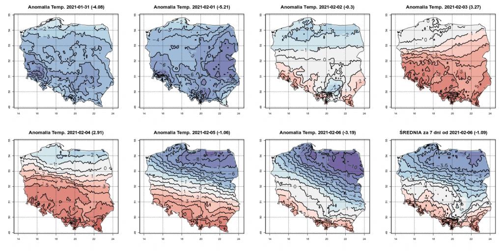 Anomalia temperatury w okresie od 31.01.2021 do 7.02.2021