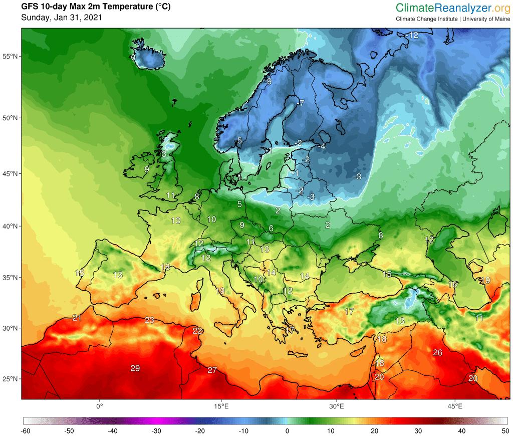 Maksymalna temperatura w Polsce i w Europie według GFS
