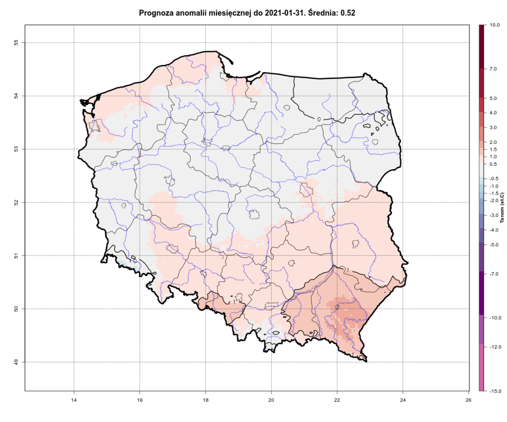 Prognoza anomalii temperatury na okres od 1.01.2021 do 30.01.2021