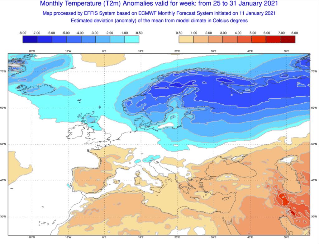 Pogoda długoterminowa do końca stycznia 2021