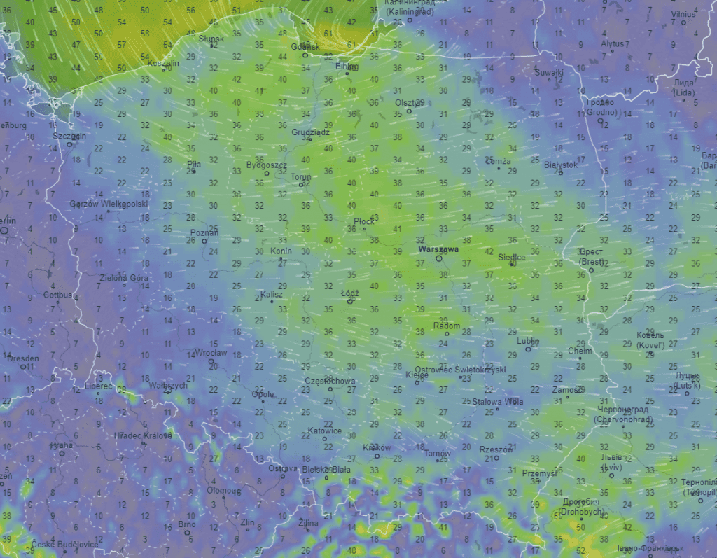 Porywy wiatru według ICON.