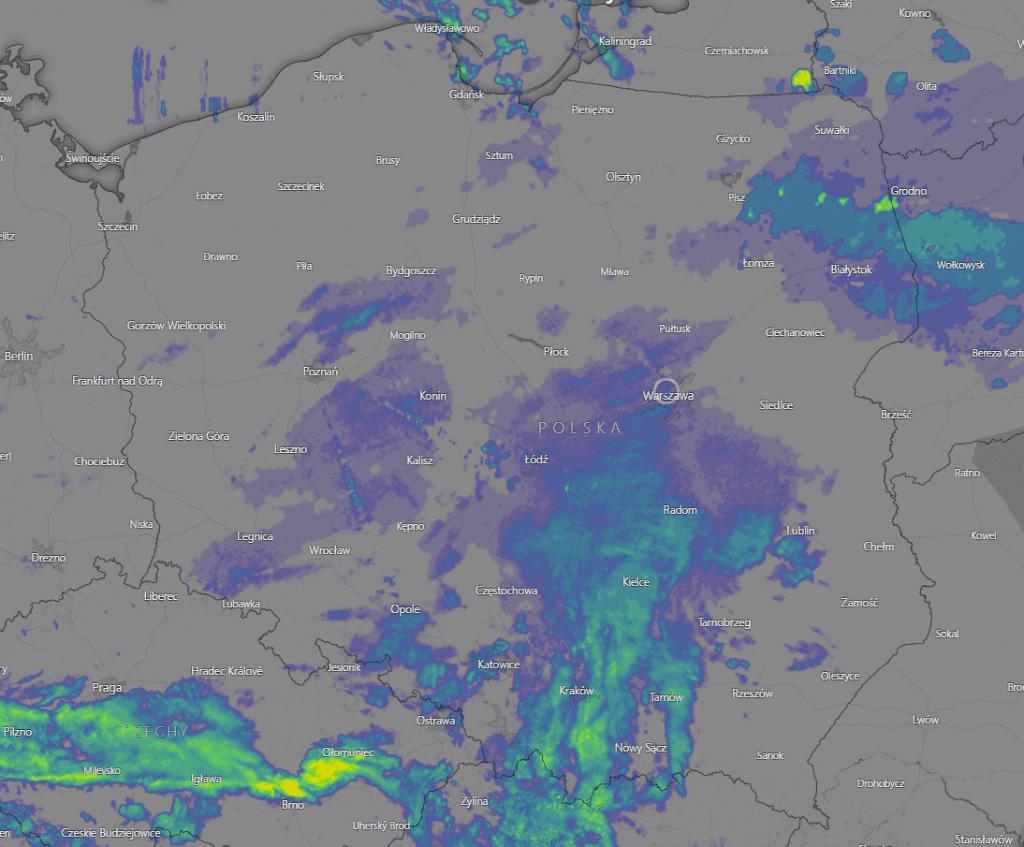 Opady po godzinie 10 nad Polską