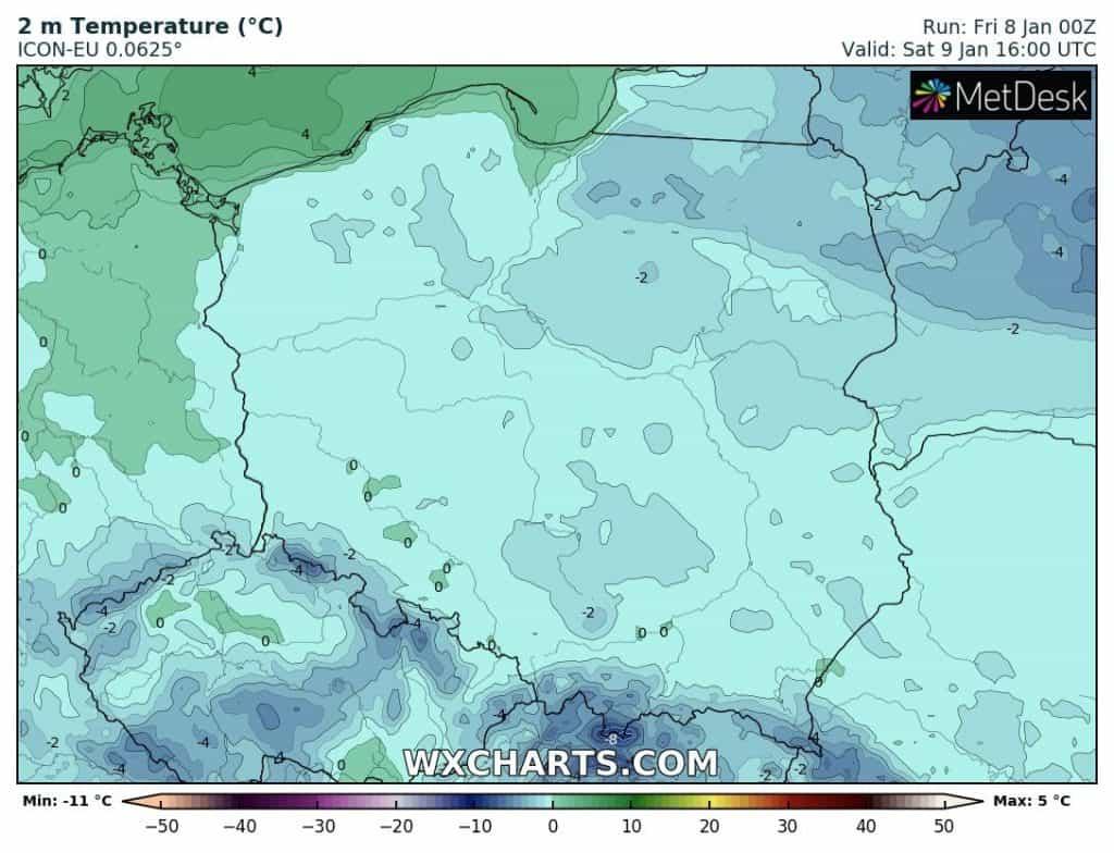 Mróz w weekend w Polsce