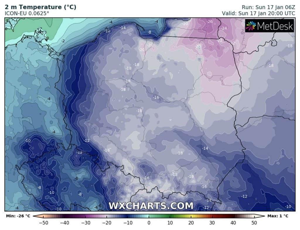 Mróz wieczorem w Polsce