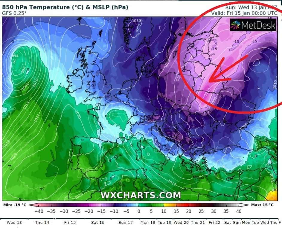 Mróz nadciąga do Polski