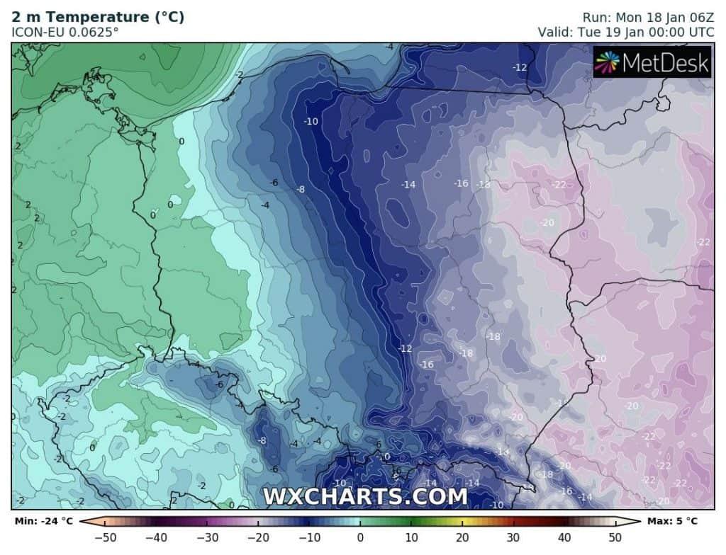 Ocieplenie, mróz na wschodzie