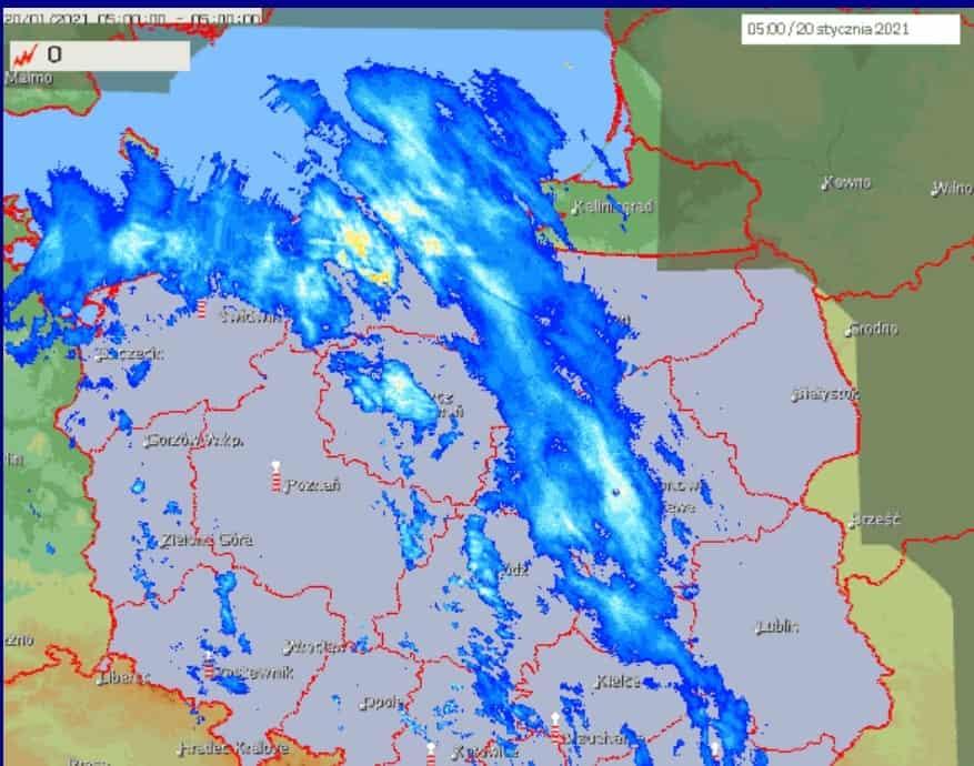 Skand radarowy i opady śniegu