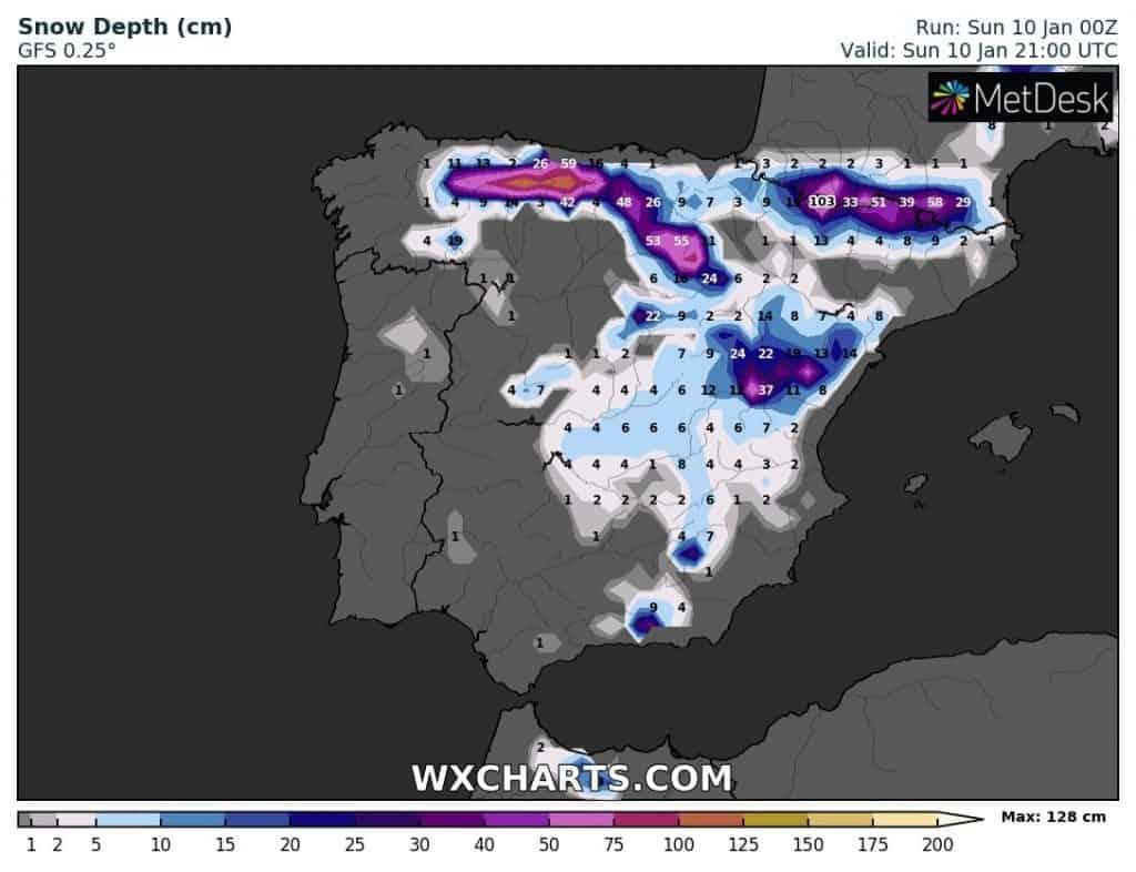 Opady śniegu w Hiszpanii