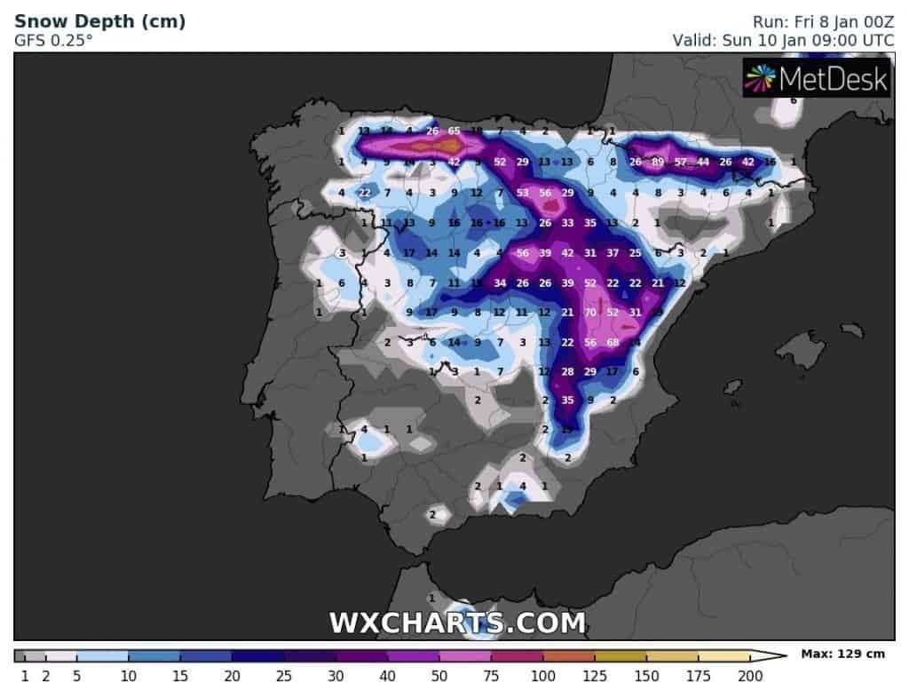 Hiszpania Mróz i Śnieg