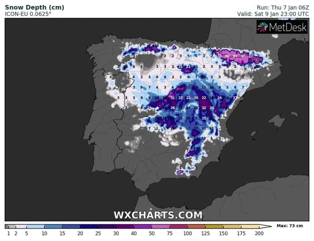 Grubość pokrywy śnieżnej w Hiszpani