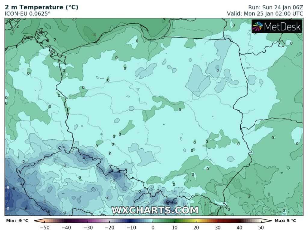 Temperatura w nocy nad Polską