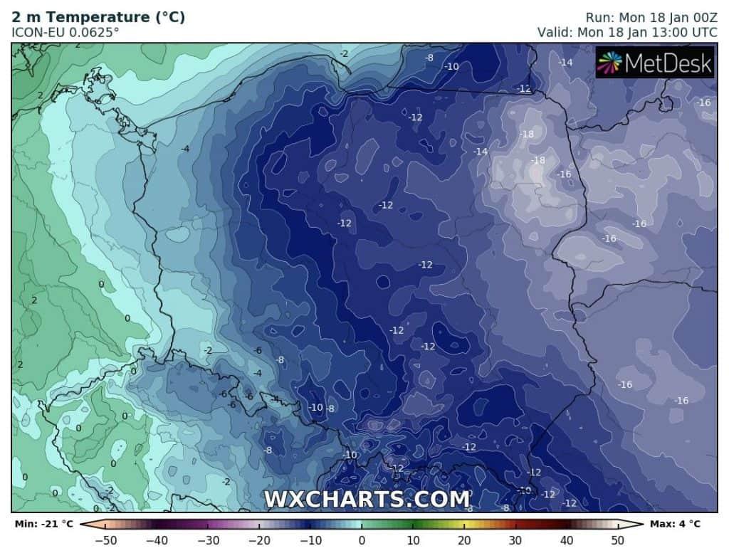 Temperatura w poniedziałek nad Polską