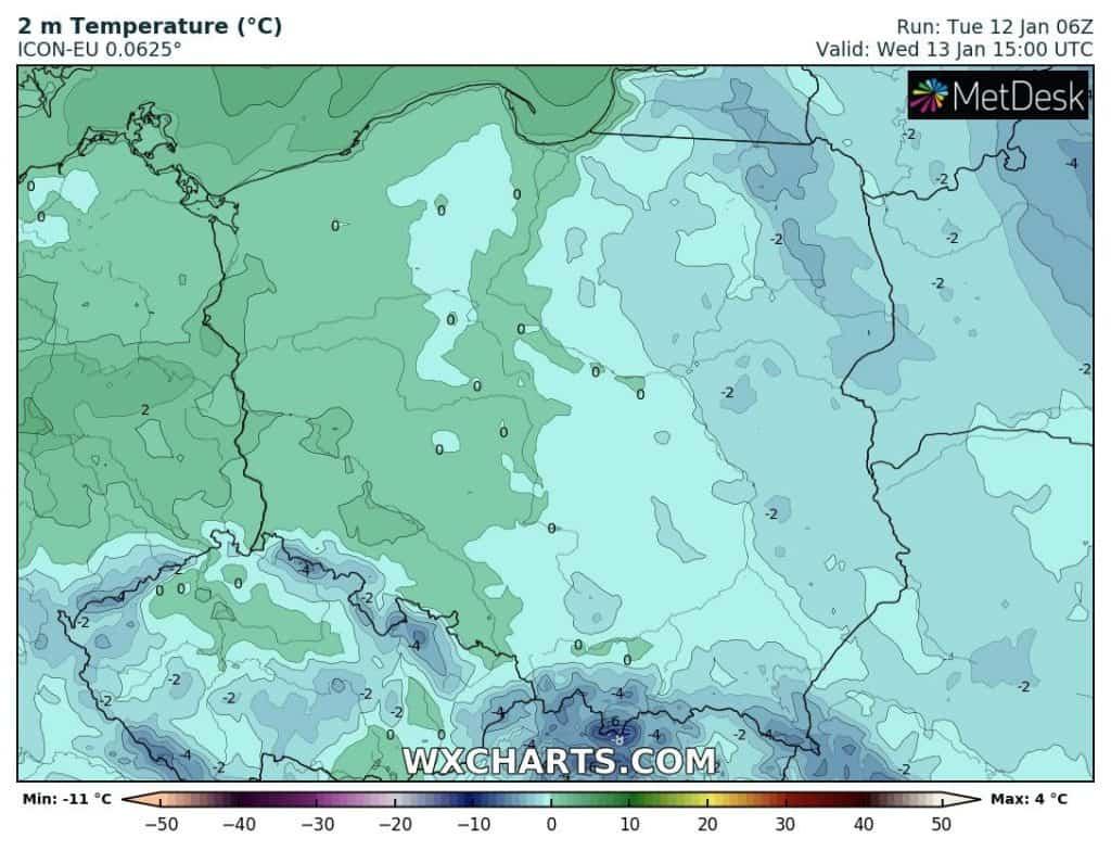 Temperatura w środę 13 stycznia
