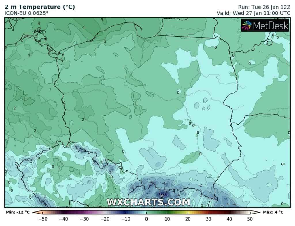 Temperatura w Polsce. Środa 27 stycznia
