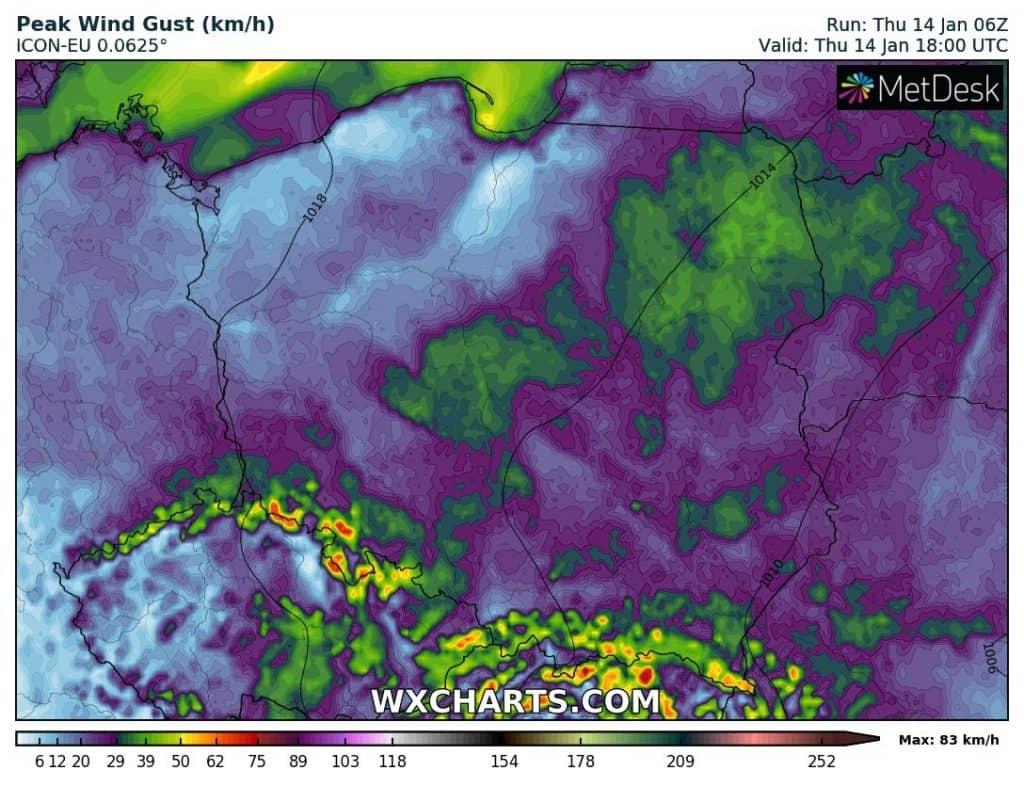 Wiatr w nocy 14/15 stycznia