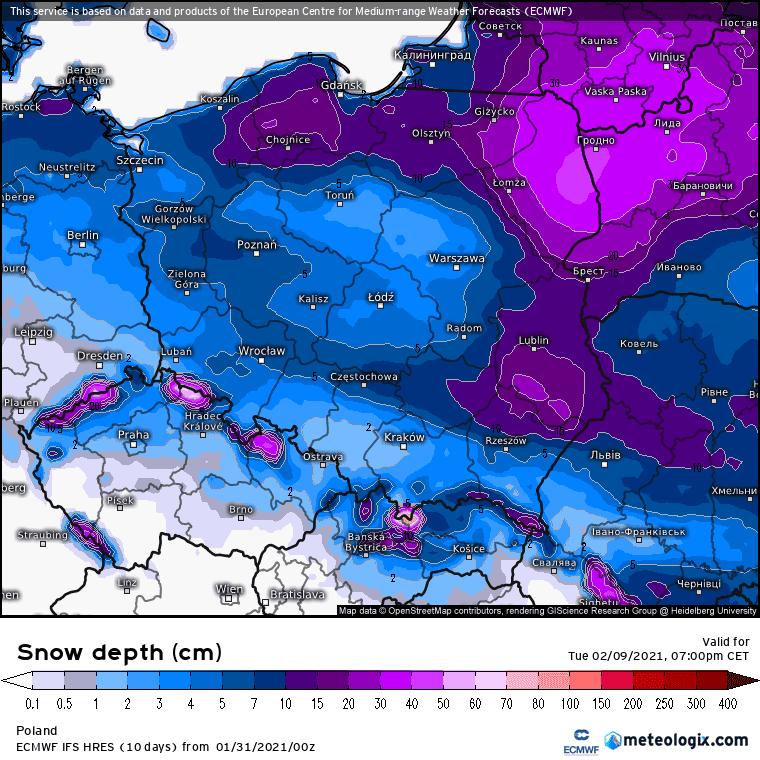 Grubość pokrywy śnieżneJ ecmwf
