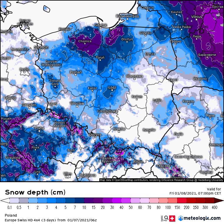 Prognoza wysokości pokrywy śnieżnej 8 stycznia 2021 dla Polski.