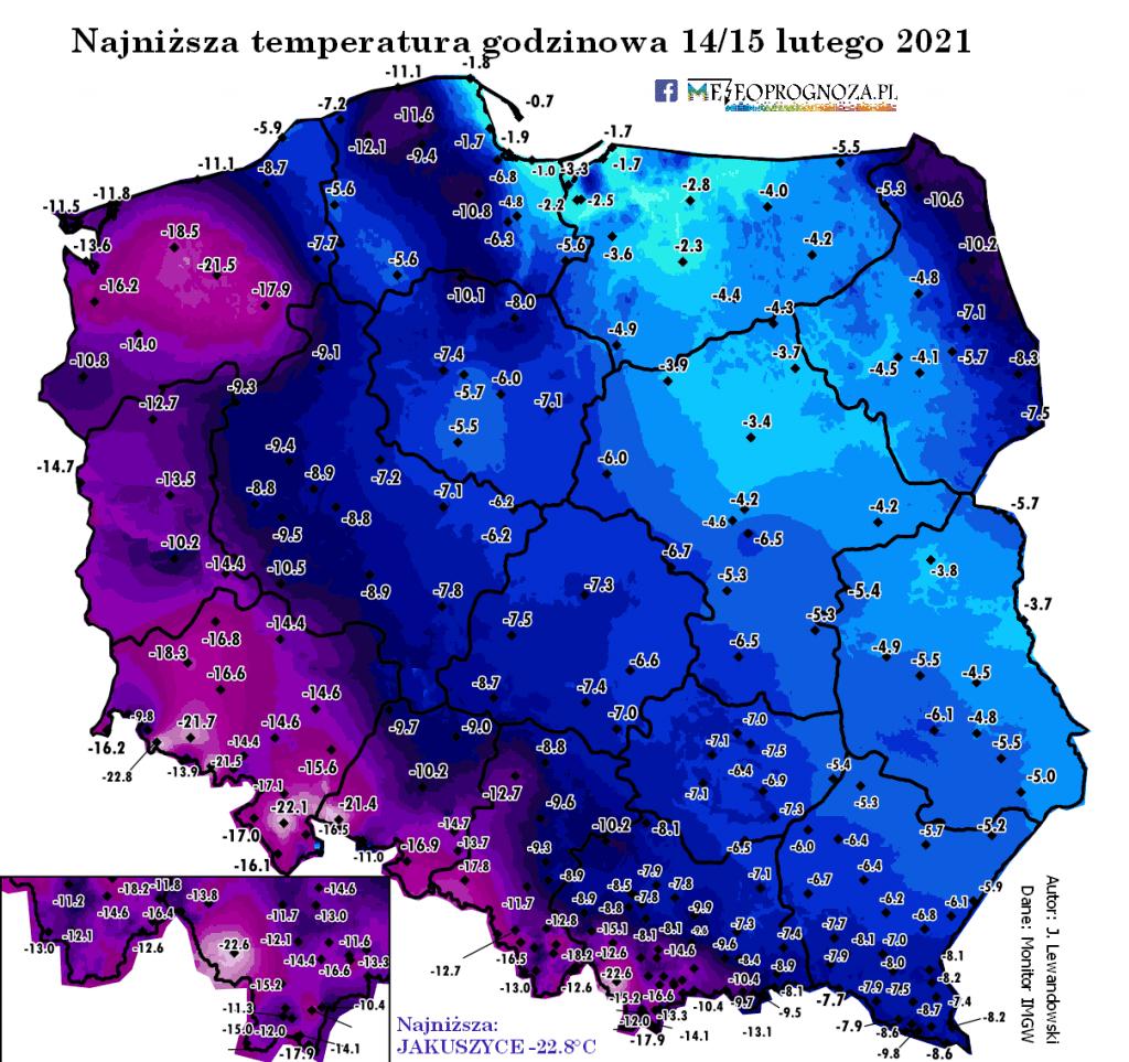 Dane IMGW-PIB, mróz w Polsce