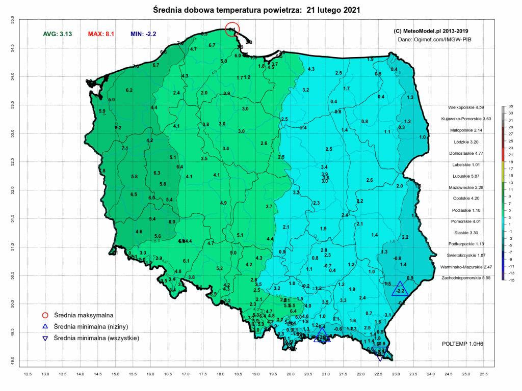 Pogoda. Średnia dobowa temperatura powietrza na dzień 21.02.2021.
